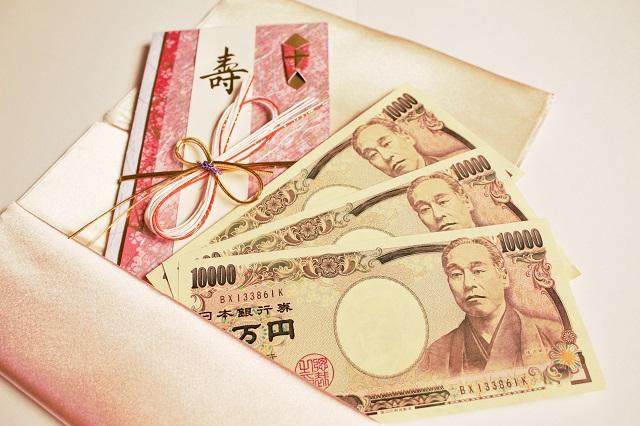 ご祝儀袋とふくさと3万円