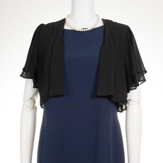 0b287a0e230f8 黒の後ろリボン半袖ボレロ|21-0064|レンタルドレスのワンピの魔法