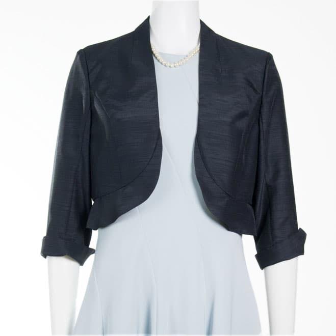 64a52464edcd4 ネイビーの裾フリル七分袖ボレロ(M)|21-0253|レンタルドレスのワンピの魔法