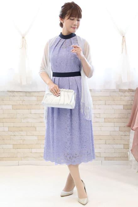 水色 ドレス コーディネート
